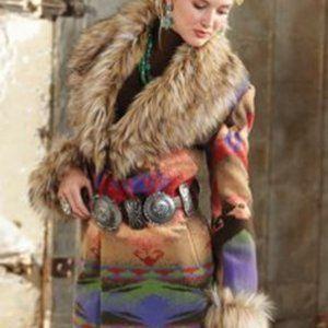 Tasha Polizzi Faux Fur Trimmed Blanket Jacket